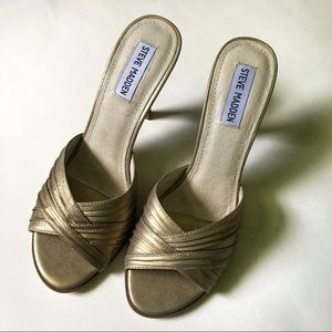 Steve Madden heeled gold sandals
